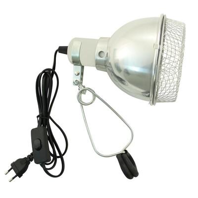 Светильник на зажиме с защитной сеткой (14 см, до 75 Вт)